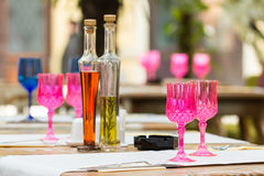 Pink Empty Glasses Royalty Free Stock Photography