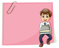 A pink empty paper with a businessman carrying some documents Stock Images