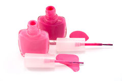 Pink enamel. Isolated on white Stock Images