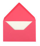 Pink envelope and card. Pink envelope with a blank card isolated on white background stock photo