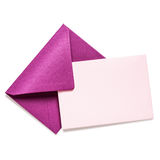 Pink envelope with card Stock Photography