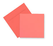 Pink envelope and card on white Stock Photo