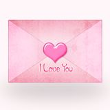 Pink envelope with heart and text Stock Photography