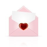 Pink envelope with heart Royalty Free Stock Photography