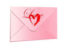 Pink envelope with a heart Royalty Free Stock Images
