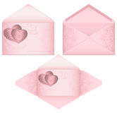 Pink envelope with hearts Celebratory envelopes with valentines Pink open envelope with romantic purple hearts and oriental floral Royalty Free Stock Photos