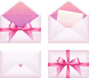 Pink envelope with ribbon, vector set Royalty Free Stock Photography
