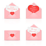 Pink envelopes with heart Stock Image