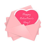 Pink envelopes with Valentines congratulations Stock Image