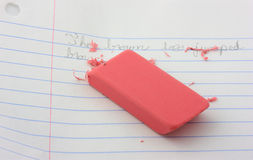 Pink eraser. Royalty Free Stock Images
