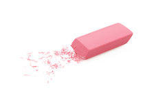 Pink Eraser Isolated On White Stock Images