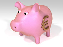 Pink Euro piggy bank. Close up of pink piggy bank with Euro symbol on side, isolated on white background Royalty Free Illustration