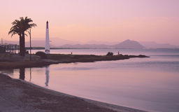 Pink evening. In Can Picafort, Majorca, Balearic islands, Spain in the end of October Royalty Free Stock Photography