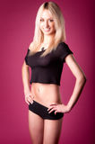 pink för blond flicka för bakgrund varm Royaltyfri Fotografi