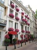 pink för facadeblommahotell Royaltyfri Foto