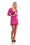 pink för hand för glamour för klänninggåvaflicka Royaltyfria Foton