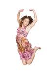 pink för klänningflickabanhoppning Royaltyfri Bild