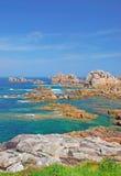 pink för brittany kustgranit Arkivfoto