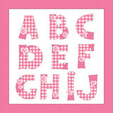 Pink fabric alphabet. Stock Images