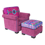 Pink Fabric armchair and stool Stock Images