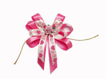 Pink Fabric bow Stock Photo