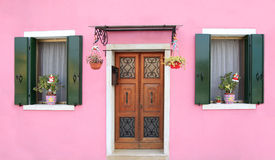 Pink facade in Burano, near Venice Stock Photography