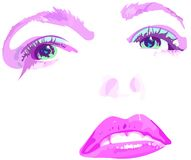 Pink face. Drawing in illustrator cs Royalty Free Stock Photo