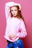 Pink factura girl stock image