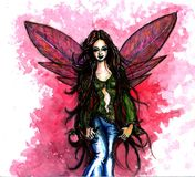 A Pink Fairy. Pink fairy in jeans and green blouse Stock Photography
