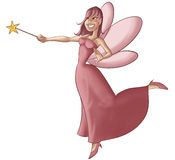 The pink fairy. A beautiful and young fairy flying and doing some magic Royalty Free Stock Image
