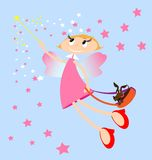 Pink fairy. On a blue background girl fairy in a pink dress, with her dog in a bag Royalty Free Stock Photography