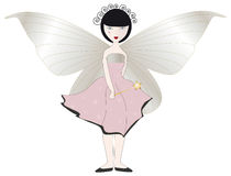 Pink Fairy. With magic wand and enormous wings Stock Images