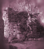 Pink Fairy Background. Pink Fairy sitting on some ruins Stock Photography