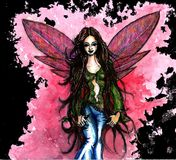 Pink fairy black Royalty Free Stock Image