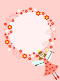 Pink fairy in circle. Pink card with fairy girl and floral ornament around the circle Stock Photo