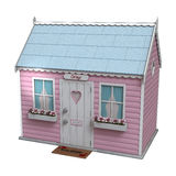 Pink Fairy Cottage. 3D digital render of a little pink fairy cottage isolated on white background Stock Image