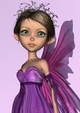 Pink Fairy. 3D digital render of a cute little fairy in purple dress on pink shining background Royalty Free Stock Photo