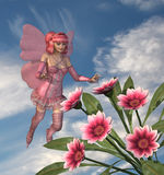 Pink Fairy with Flowers. 3D render of a pink fairy enjoying some Gazania flowers. All elements by me Royalty Free Stock Photo