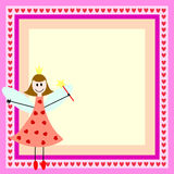 Pink fairy in frame. Pink card with fairy girl in the bright frame Stock Photos