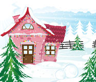 Pink fairy house in winter forest Stock Photo