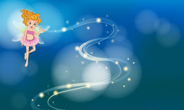 Pink Fairy. Illustration of a pink fairy with blue background Royalty Free Stock Photo