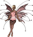 Pink Fairy Sitting. Beautiful pink fairy in a seated pose Royalty Free Stock Photos