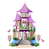 Pink fairy tale castle. Fairytale house with pink roof. Isolation on a white background Royalty Free Stock Photography