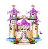 Pink fairy tale castle. Isolated on white background Stock Images