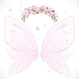 Pink fairy wings with wreath of pink spring flowers bundled Stock Photography