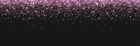 Pink falling particles on dark background, wide banner. Vector. Illustration Royalty Free Stock Photos