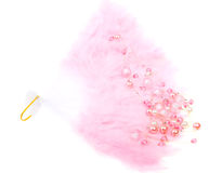 Pink fan and beads isolated on white Royalty Free Stock Images