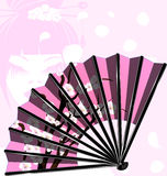 Pink fan and face. Pink background and the cherry blossom fan with abstract face girl Royalty Free Stock Image