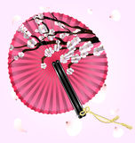 Pink fan and flying blossom Stock Images