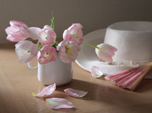 Pink fan and tulips. Tulips pink white hat fan petals light Stock Images
